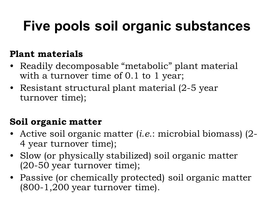 Five pools soil organic substances
