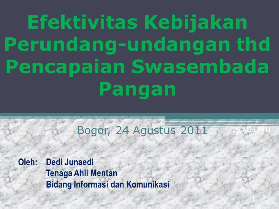 Efektivitas Kebijakan Perundang-undangan thd Pencapaian Swasembada Pangan