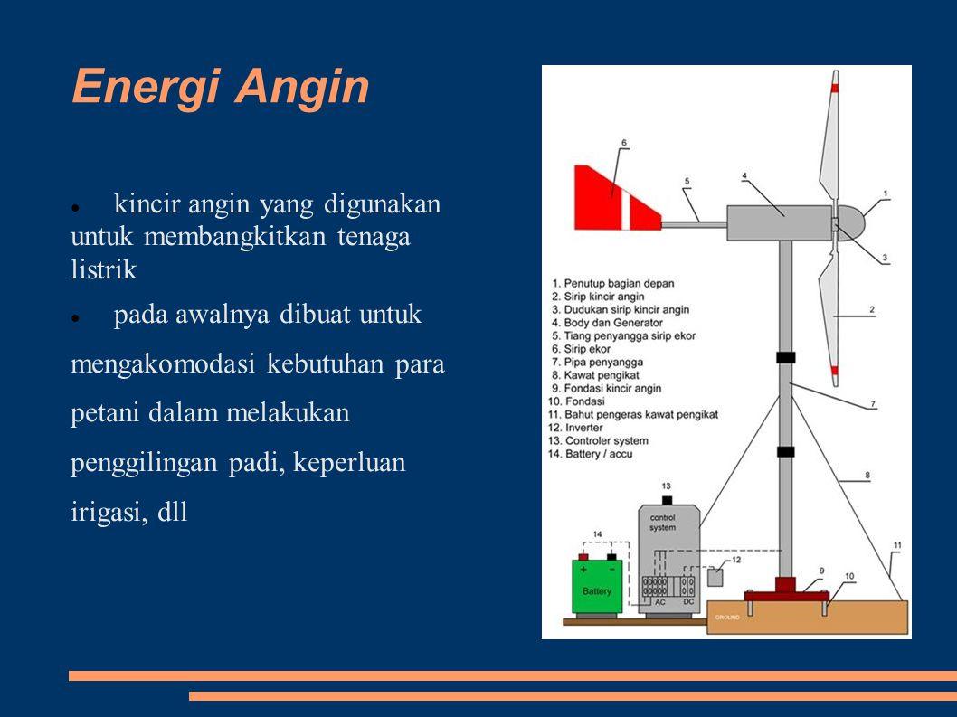 Energi Angin kincir angin yang digunakan untuk membangkitkan tenaga listrik.