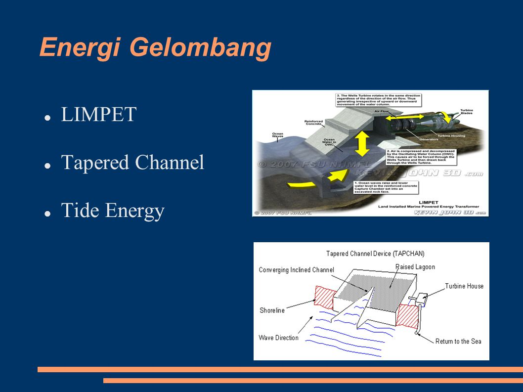 Energi Gelombang LIMPET Tapered Channel Tide Energy