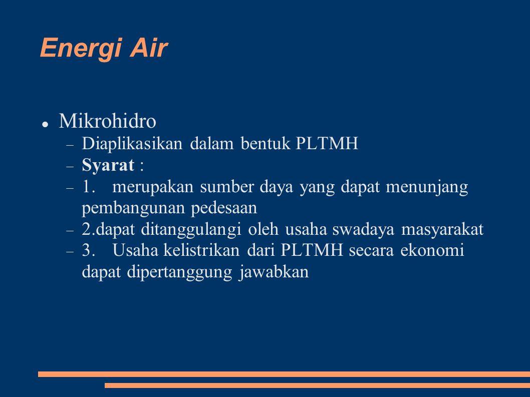 Energi Air Mikrohidro Diaplikasikan dalam bentuk PLTMH Syarat :