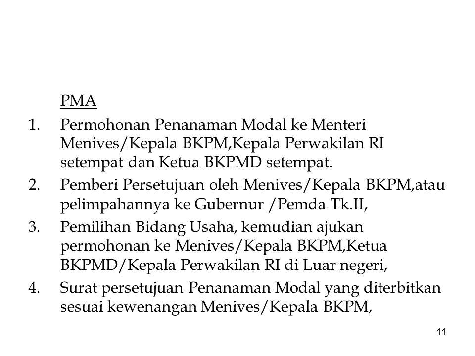 PMA Permohonan Penanaman Modal ke Menteri Menives/Kepala BKPM,Kepala Perwakilan RI setempat dan Ketua BKPMD setempat.