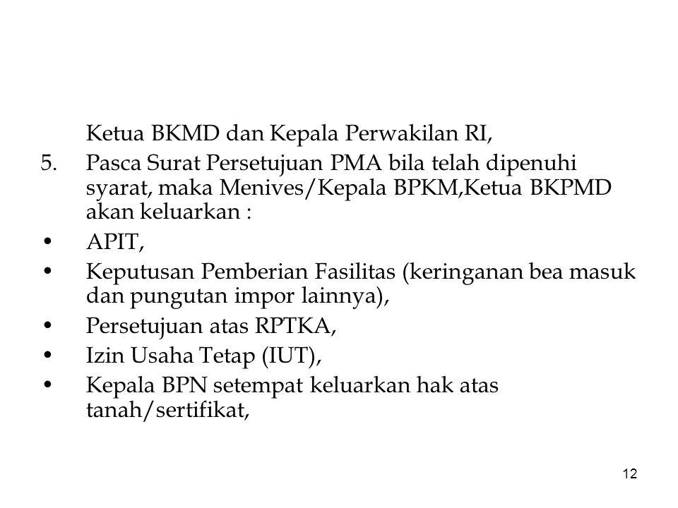 Ketua BKMD dan Kepala Perwakilan RI,