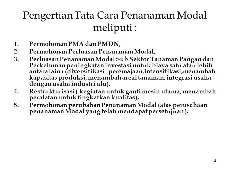 Pengertian Tata Cara Penanaman Modal meliputi :