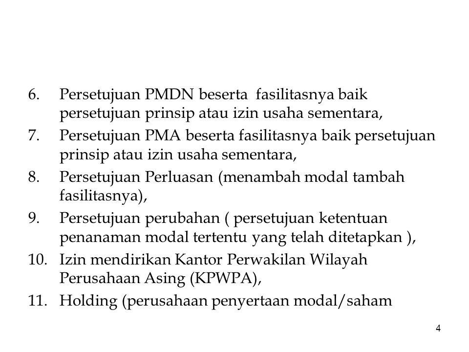 6. Persetujuan PMDN beserta fasilitasnya baik persetujuan prinsip atau izin usaha sementara,