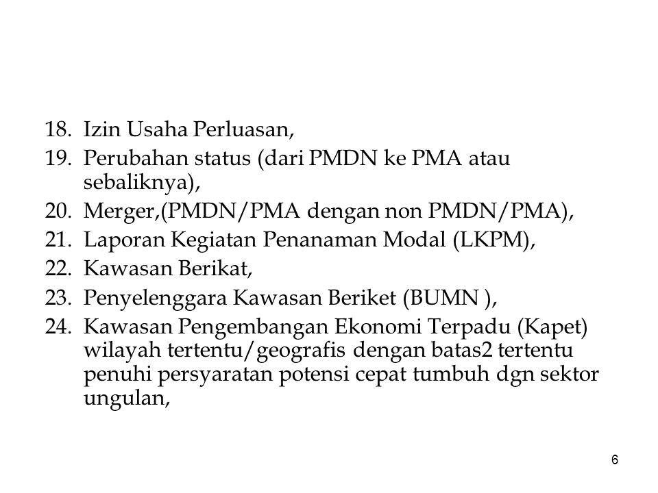 18. Izin Usaha Perluasan, 19. Perubahan status (dari PMDN ke PMA atau sebaliknya), 20. Merger,(PMDN/PMA dengan non PMDN/PMA),