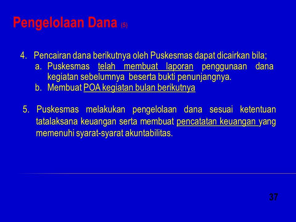 Pengelolaan Dana (5) 4. Pencairan dana berikutnya oleh Puskesmas dapat dicairkan bila;