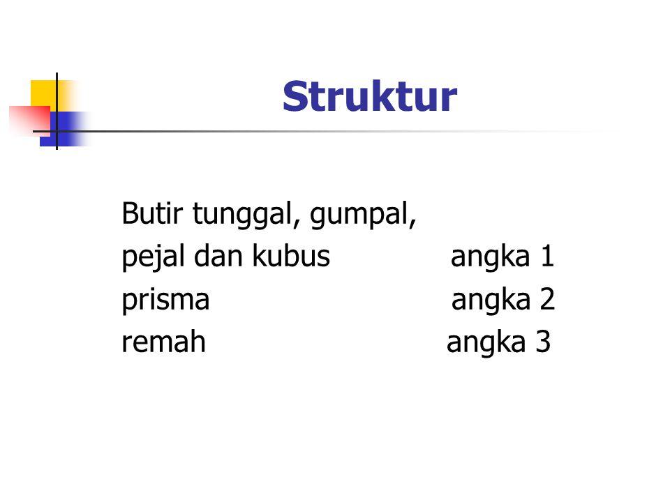 Struktur Butir tunggal, gumpal, pejal dan kubus angka 1 prisma angka 2