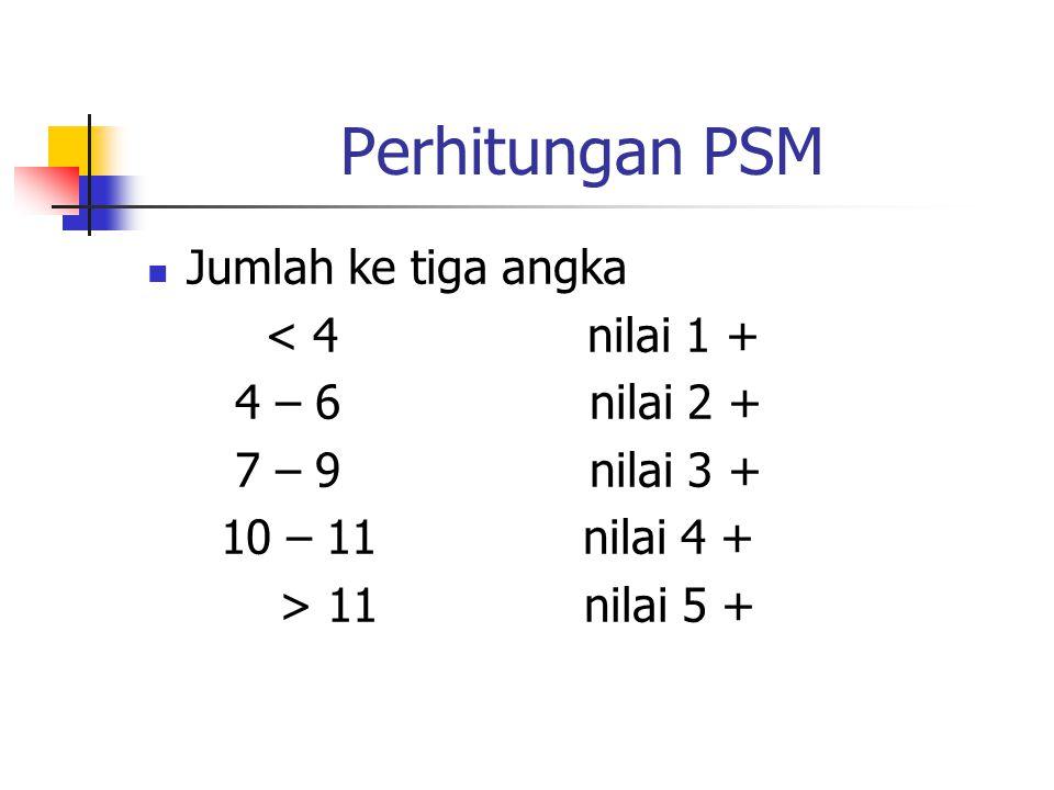 Perhitungan PSM Jumlah ke tiga angka < 4 nilai 1 + 4 – 6 nilai 2 +