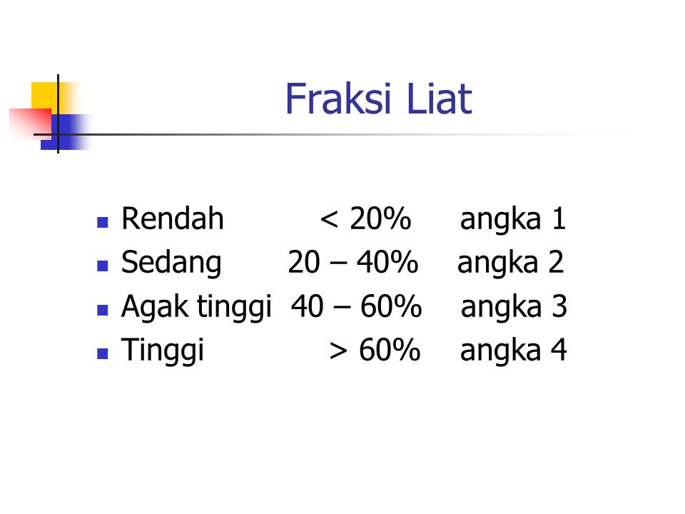 Fraksi Liat Rendah < 20% angka 1 Sedang 20 – 40% angka 2