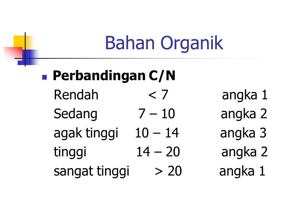 Bahan Organik Perbandingan C/N Rendah < 7 angka 1