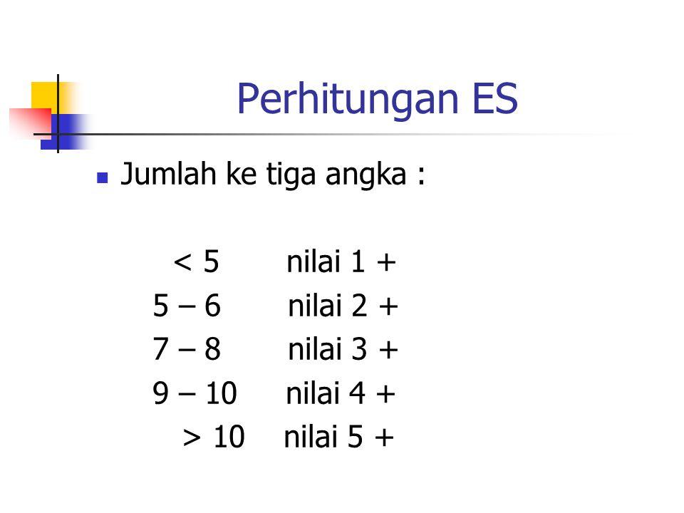 Perhitungan ES Jumlah ke tiga angka : < 5 nilai 1 + 5 – 6 nilai 2 +