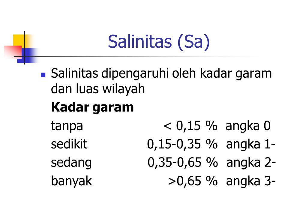 Salinitas (Sa) Salinitas dipengaruhi oleh kadar garam dan luas wilayah