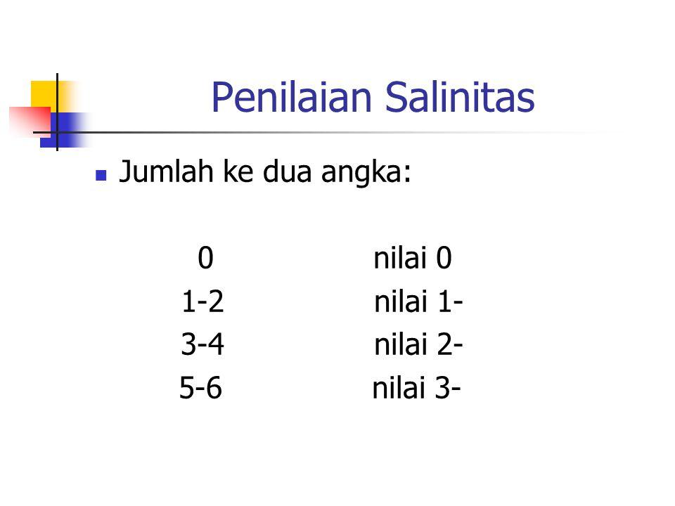 Penilaian Salinitas Jumlah ke dua angka: 0 nilai 0 1-2 nilai 1-