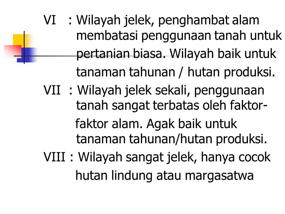 VI : Wilayah jelek, penghambat alam membatasi penggunaan tanah untuk
