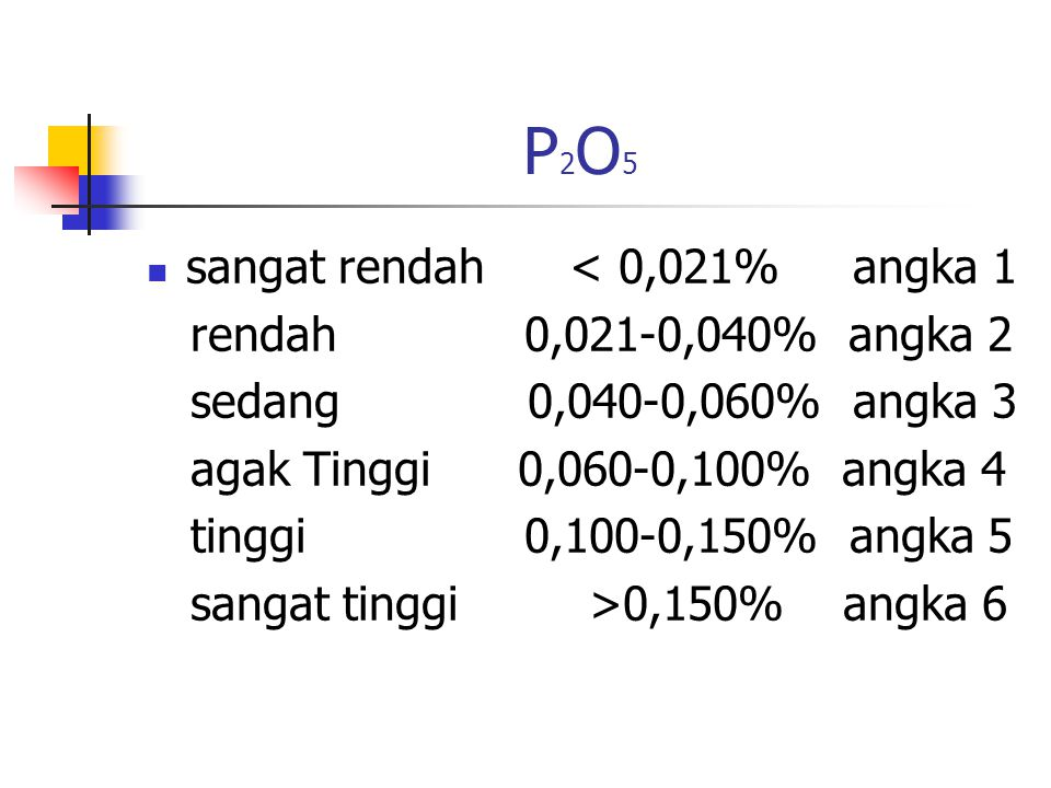 P2O5 sangat rendah < 0,021% angka 1 rendah 0,021-0,040% angka 2