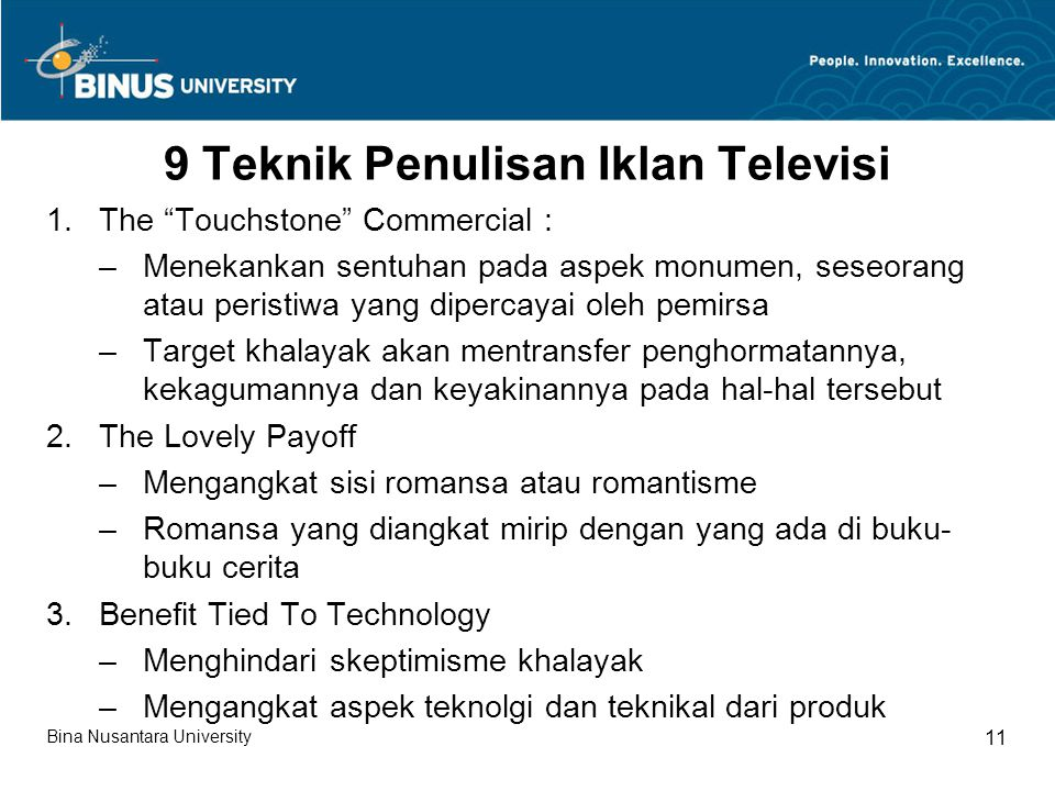 9 Teknik Penulisan Iklan Televisi