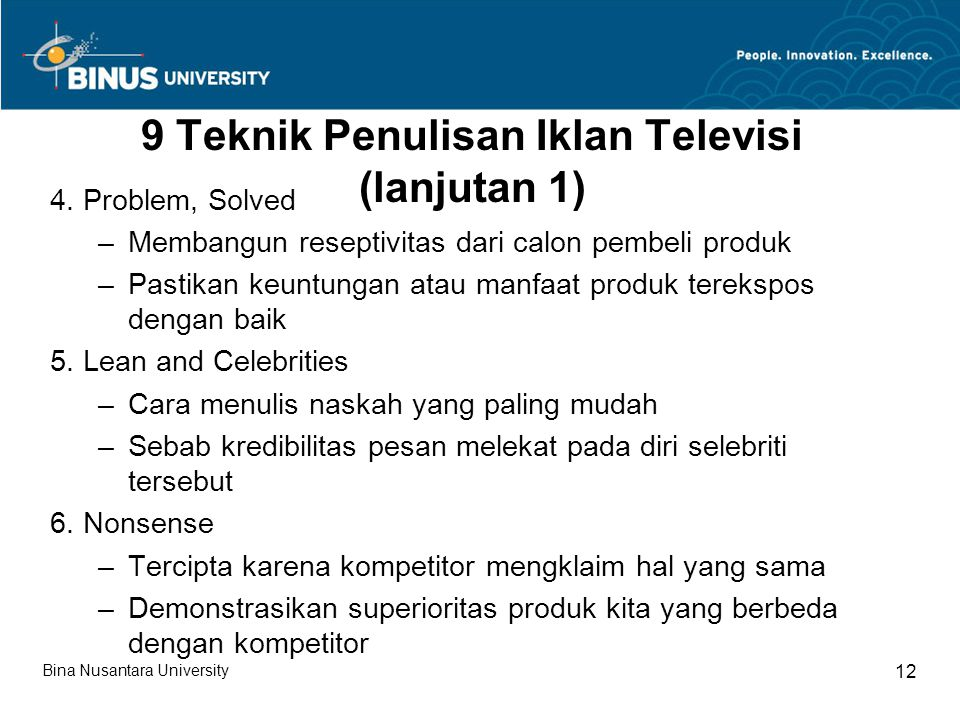 9 Teknik Penulisan Iklan Televisi (lanjutan 1)
