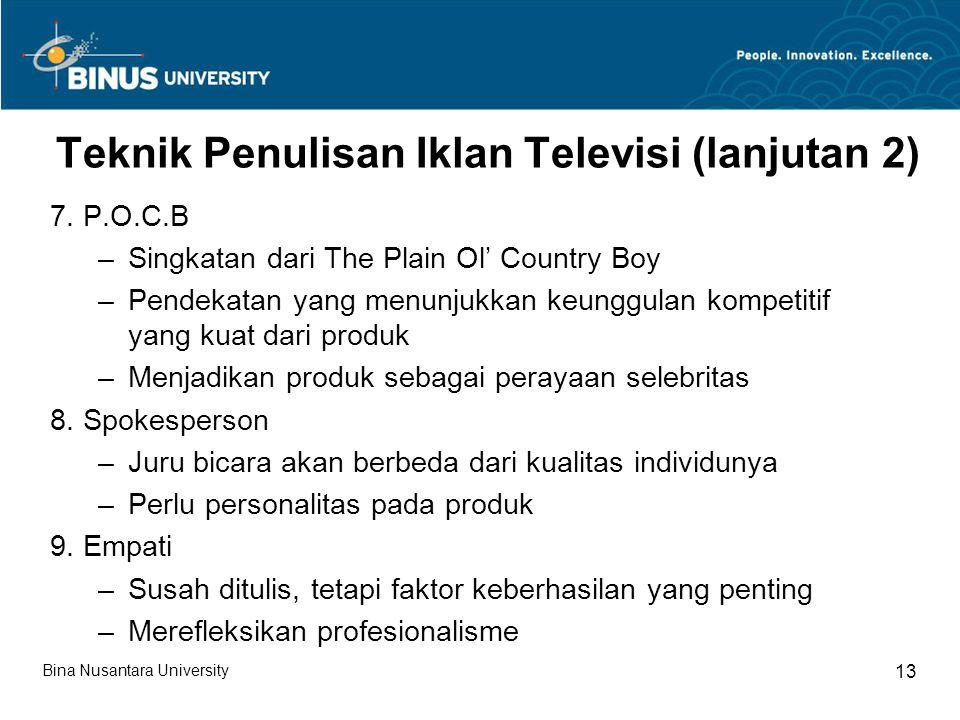 Teknik Penulisan Iklan Televisi (lanjutan 2)
