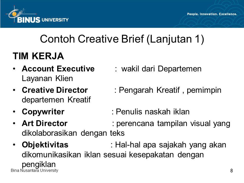Contoh Creative Brief (Lanjutan 1)