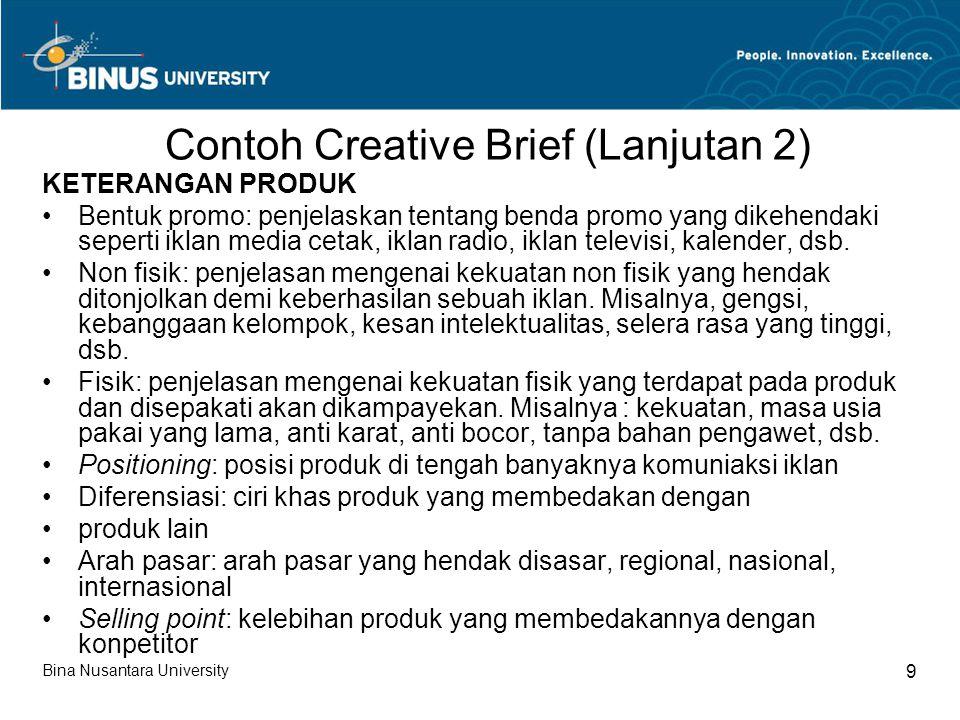 Contoh Creative Brief (Lanjutan 2)