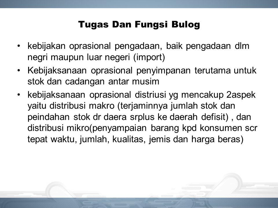 Tugas Dan Fungsi Bulog kebijakan oprasional pengadaan, baik pengadaan dlm negri maupun luar negeri (import)