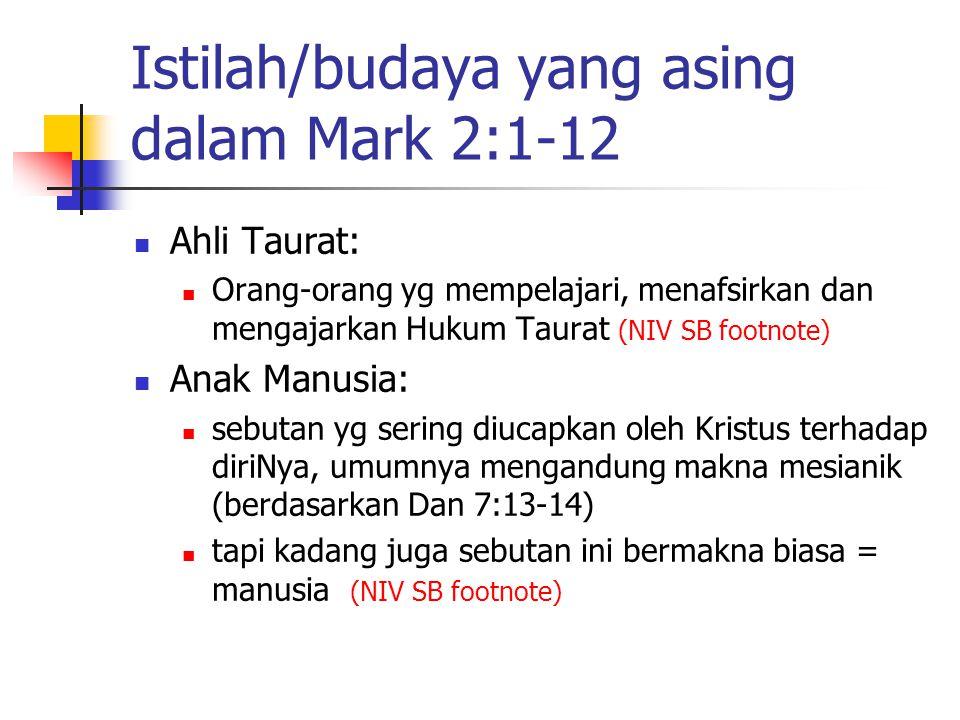 Istilah/budaya yang asing dalam Mark 2:1-12