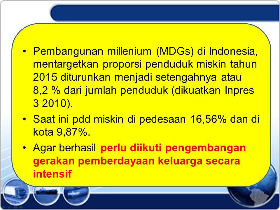 Pembangunan millenium (MDGs) di Indonesia, mentargetkan proporsi penduduk miskin tahun 2015 diturunkan menjadi setengahnya atau 8,2 % dari jumlah penduduk (dikuatkan Inpres 3 2010).