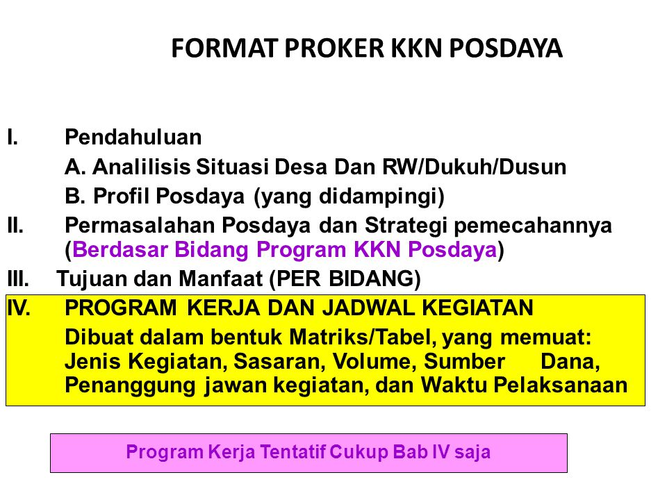 FORMAT PROKER KKN POSDAYA