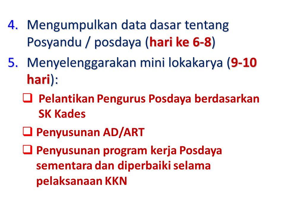 Mengumpulkan data dasar tentang Posyandu / posdaya (hari ke 6-8)