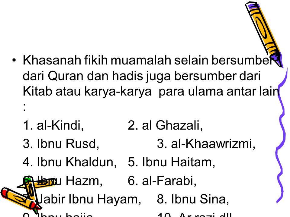 Khasanah fikih muamalah selain bersumber dari Quran dan hadis juga bersumber dari Kitab atau karya-karya para ulama antar lain :