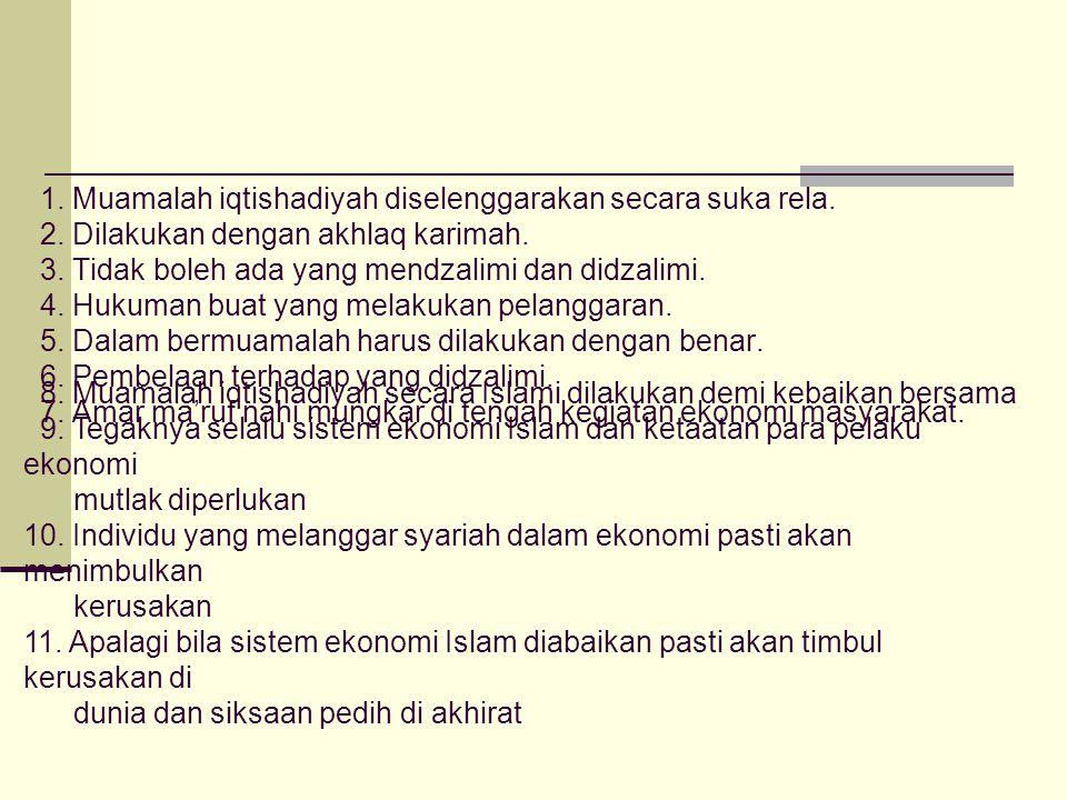 1. Muamalah iqtishadiyah diselenggarakan secara suka rela. 2