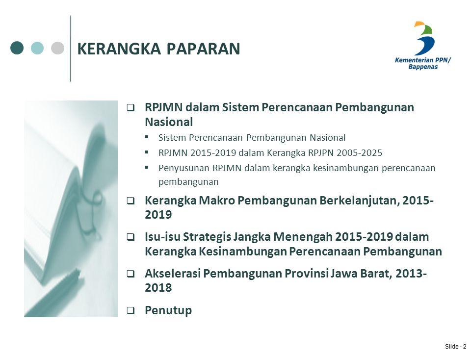 KERANGKA PAPARAN RPJMN dalam Sistem Perencanaan Pembangunan Nasional