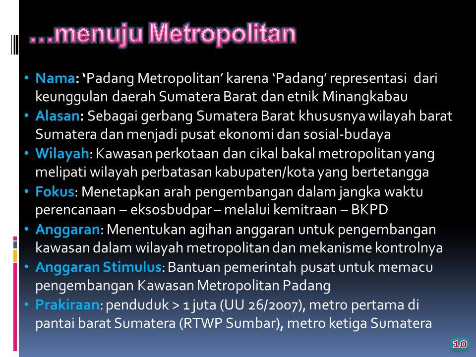 …menuju Metropolitan Nama: 'Padang Metropolitan' karena 'Padang' representasi dari keunggulan daerah Sumatera Barat dan etnik Minangkabau.