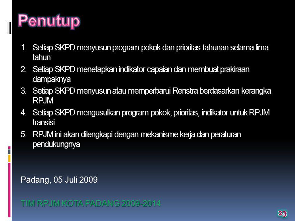 Penutup Setiap SKPD menyusun program pokok dan prioritas tahunan selama lima tahun.