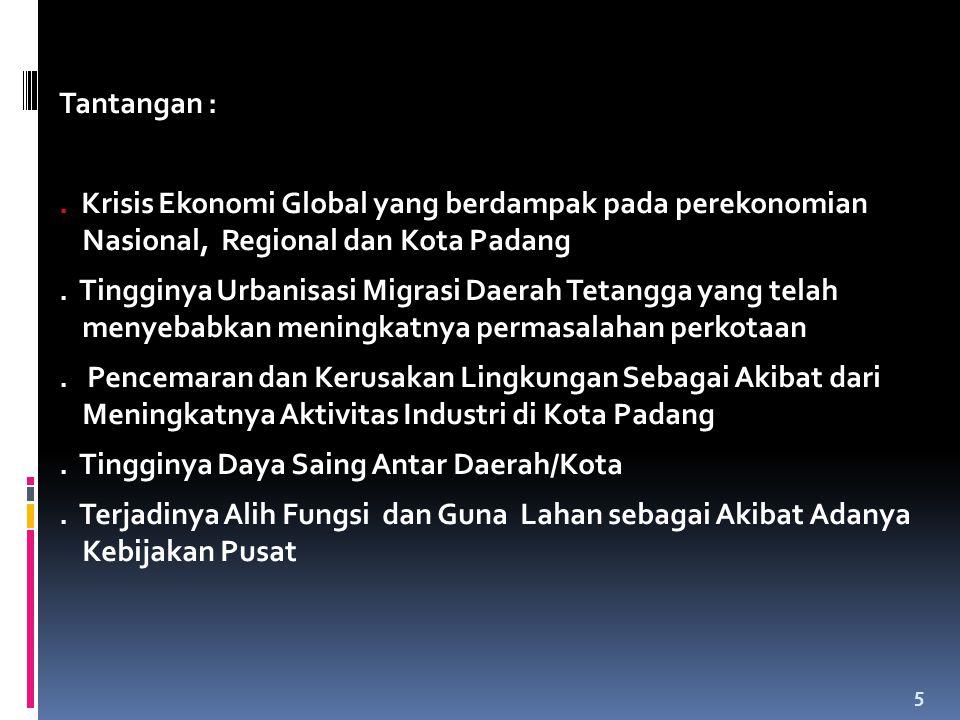 Tantangan : . Krisis Ekonomi Global yang berdampak pada perekonomian Nasional, Regional dan Kota Padang.
