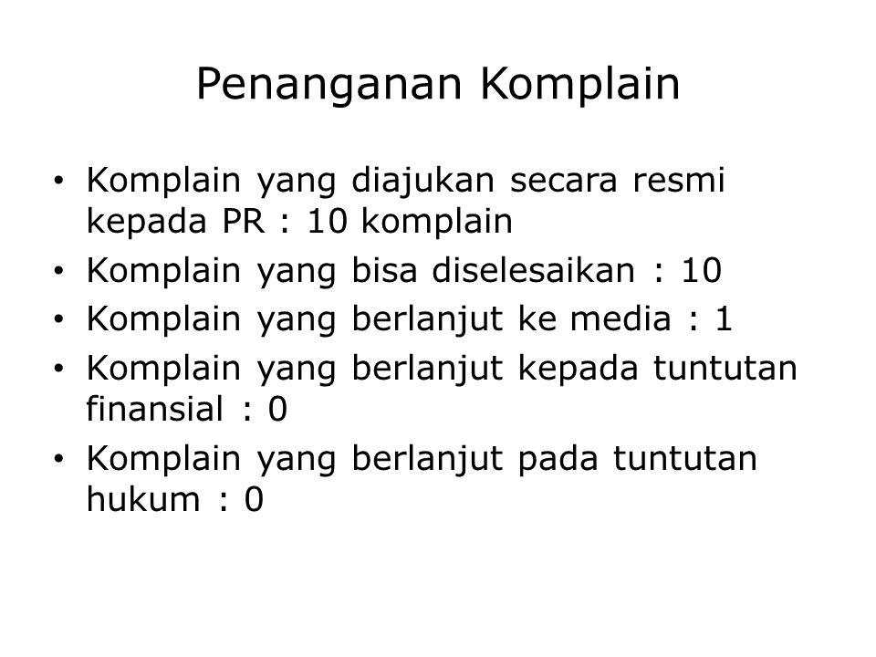 Penanganan Komplain Komplain yang diajukan secara resmi kepada PR : 10 komplain. Komplain yang bisa diselesaikan : 10.