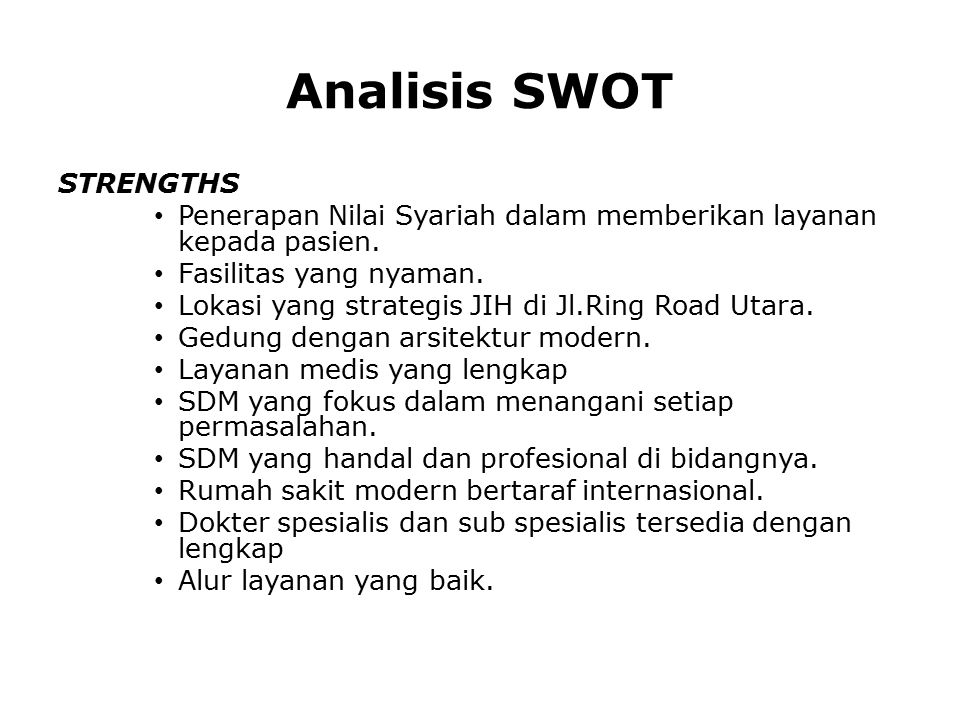 Analisis SWOT STRENGTHS