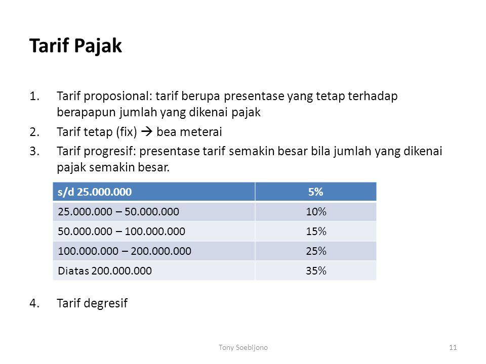 Tarif Pajak Tarif proposional: tarif berupa presentase yang tetap terhadap berapapun jumlah yang dikenai pajak.
