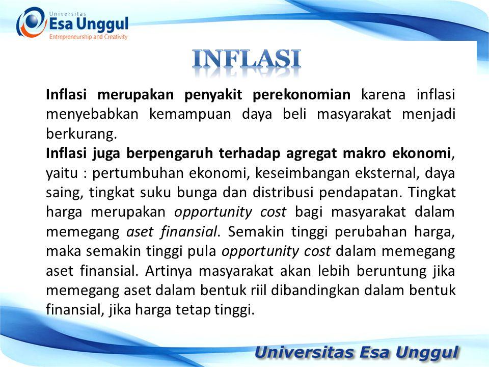 INFLASI Inflasi merupakan penyakit perekonomian karena inflasi menyebabkan kemampuan daya beli masyarakat menjadi berkurang.