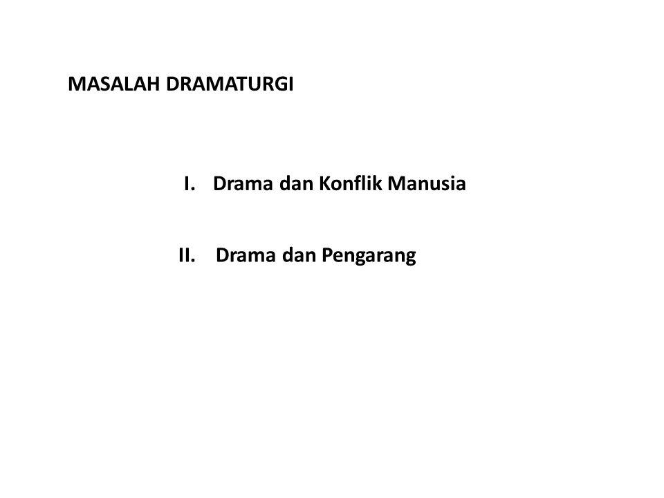 MASALAH DRAMATURGI Drama dan Konflik Manusia Drama dan Pengarang