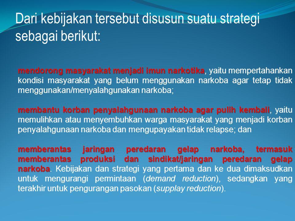 Dari kebijakan tersebut disusun suatu strategi sebagai berikut: