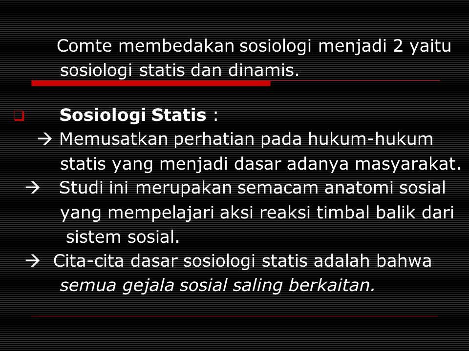sosiologi statis dan dinamis.