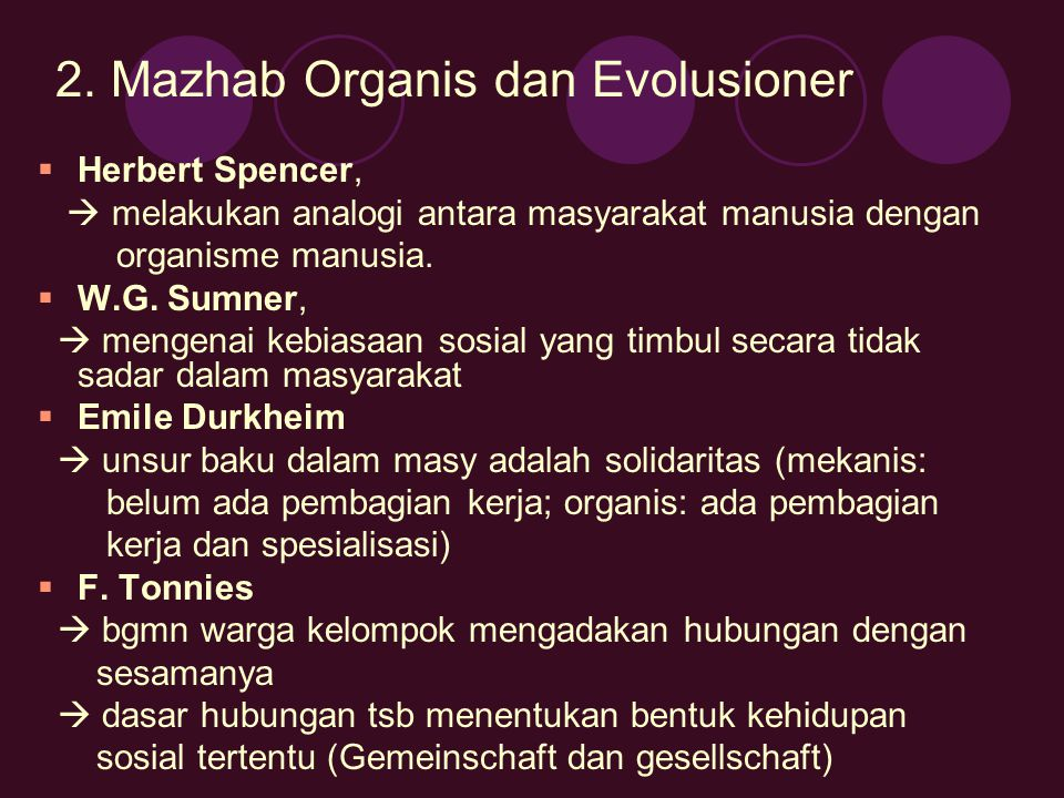 2. Mazhab Organis dan Evolusioner