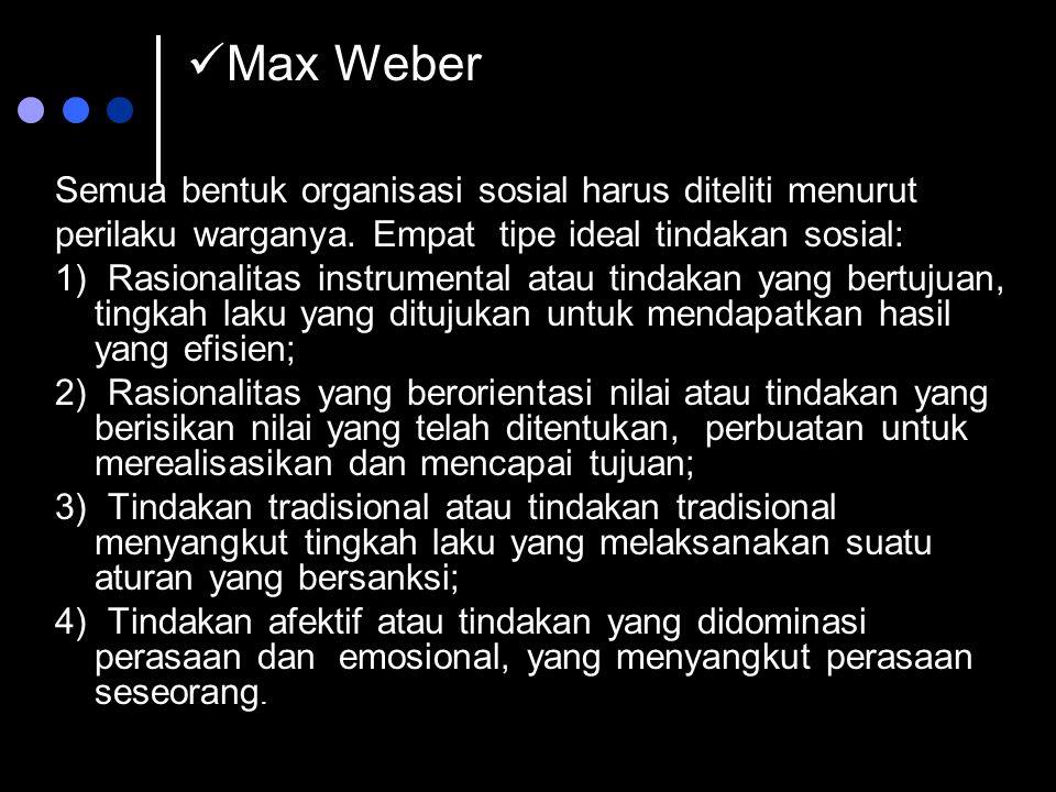 Max Weber Semua bentuk organisasi sosial harus diteliti menurut