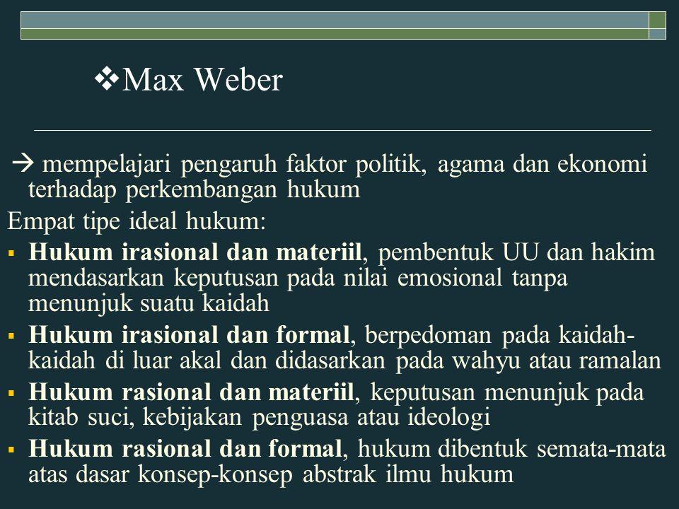 Max Weber Empat tipe ideal hukum: