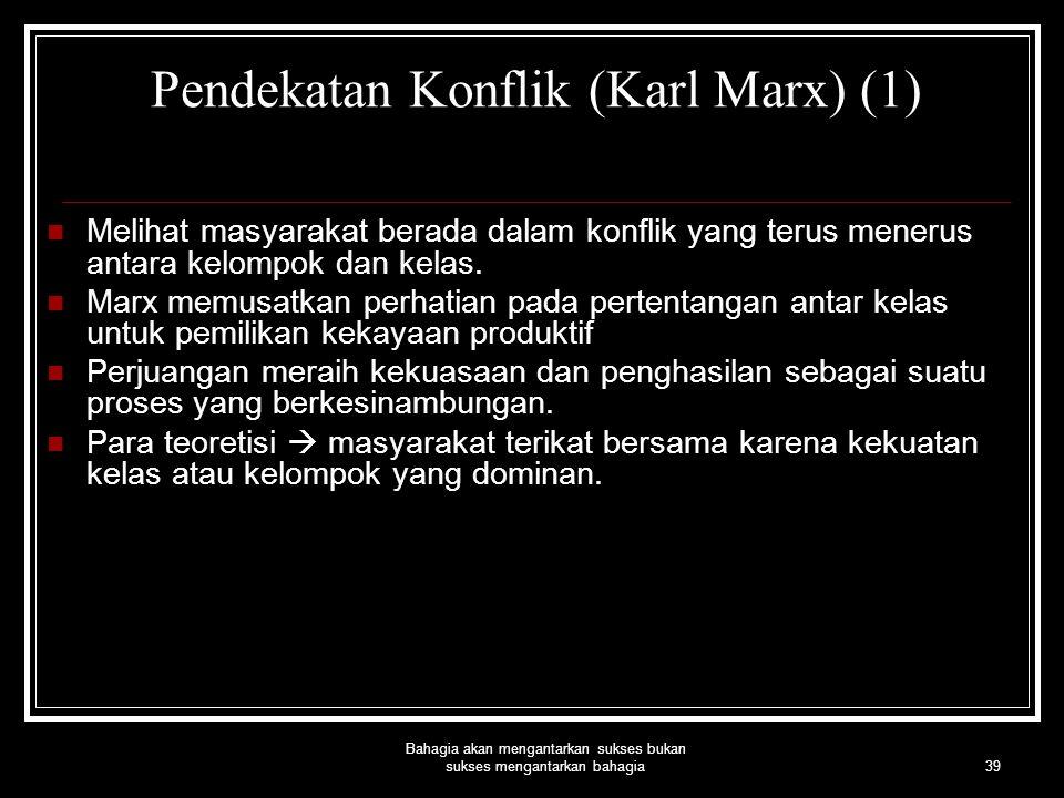 Pendekatan Konflik (Karl Marx) (1)