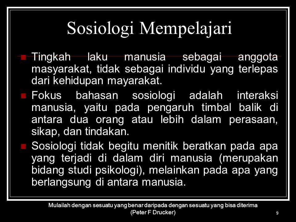 Sosiologi Mempelajari