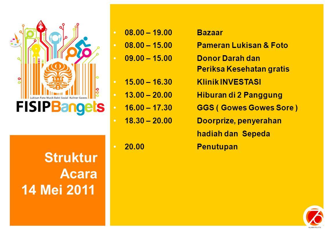 Struktur Acara 14 Mei 2011 08.00 – 19.00 Bazaar