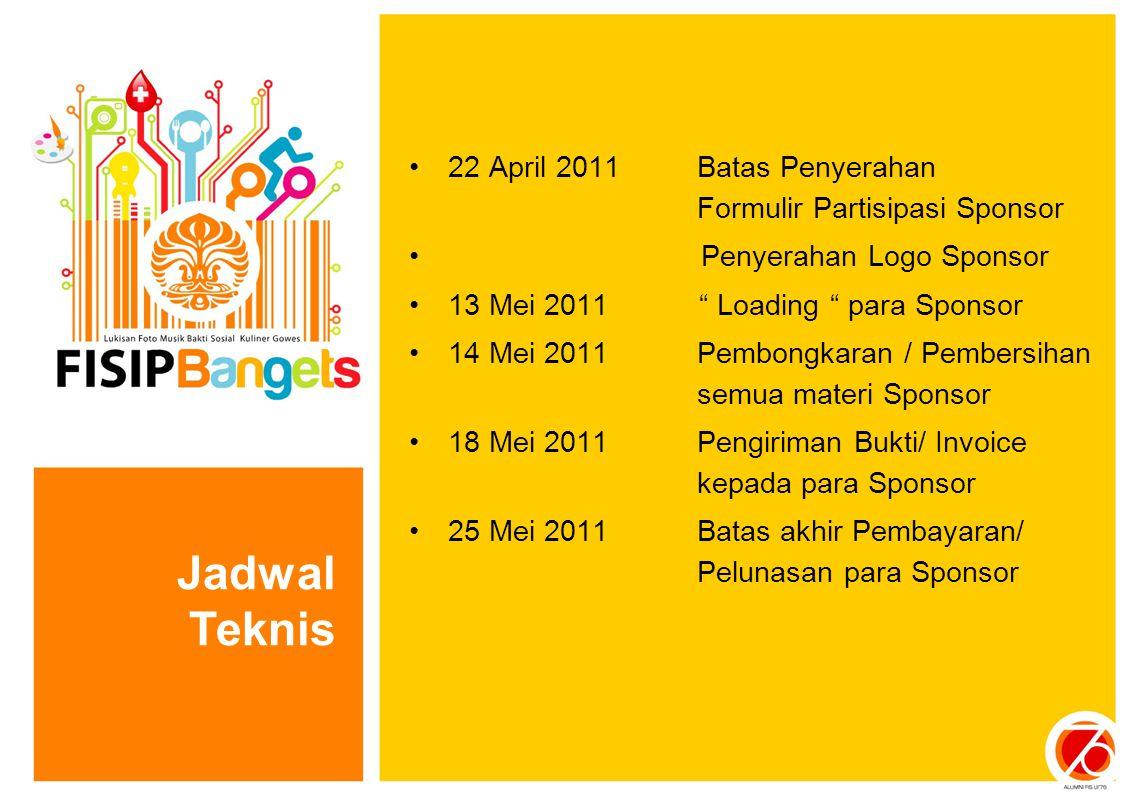 22 April 2011 Batas Penyerahan Formulir Partisipasi Sponsor